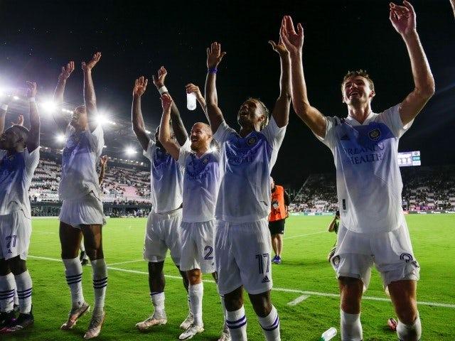 Orlando City SC forward Nani celebrates with teammates after winning on June 26, 2021