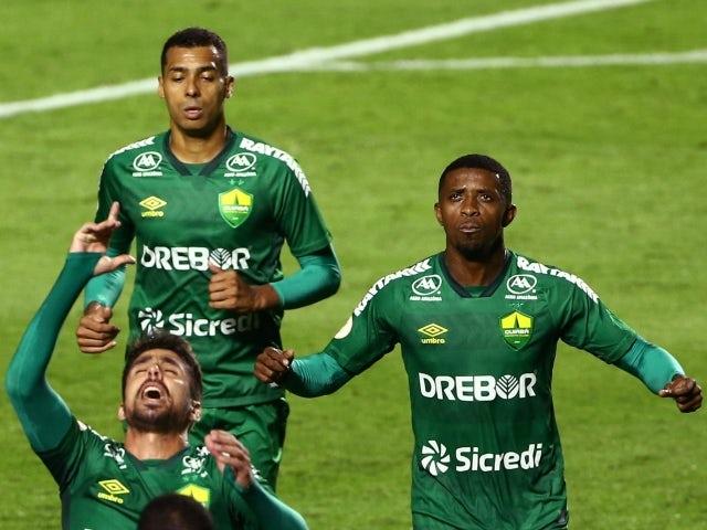 Cuiaba's Rafael Gava celebrates scoring their first goal with teammates June 23, 2021
