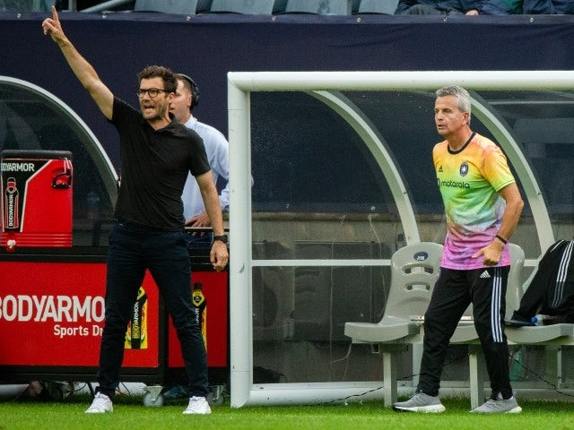 Chicago Fire head coach Raphael Wicky and assistant coach Frank Klopas pictured on June 27, 2021