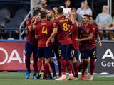 Real Salt Lake celebrate a goal from penalty kick on June 24, 2021