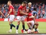 British and Irish Lions' Robbie Henshaw celebrates scoring a try on June 26, 2021