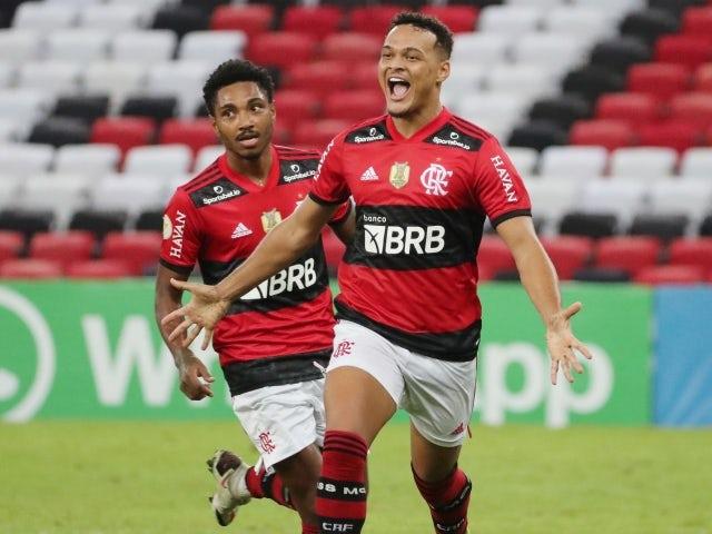 Flamengo's Rodrigo Muniz celebrates scoring their second goal on June 20, 2021