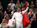 Roger Federer celebrates at Wimbledon on June 29, 2021