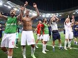 Switzerland players celebrate beating France on penalties at Euro 2020 on June 28, 2021