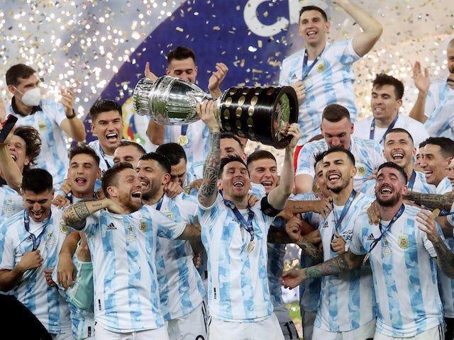 Argentina's Lionel Messi and teammates celebrate winning the Copa America on July 10, 2021