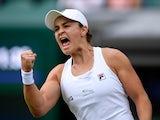 Ashleigh Barty celebrates at Wimbledon on July 5, 2021