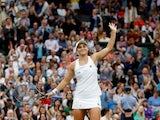 Ashleigh Barty celebrates at Wimbledon on July 6, 2021