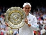 Ashleigh Barty celebrates winning the women's Wimbledon title on July 10, 2021