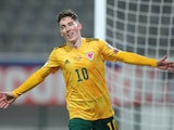 Harry Wilson celebrates scoring for Wales in March 2021