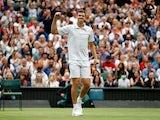 Hubert Hurkacz celebrates at Wimbledon on July 6, 2021