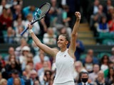 Karolina Pliskova celebrates at Wimbledon on July 6, 2021