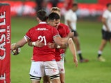 British and Irish Lions' Tom Curry celebrates scoring their tenth try against the Sharks on July 10, 2021
