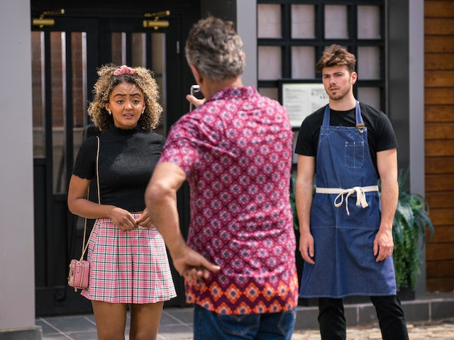 Emma, Curtis and Dev on Coronation Street on July 23, 2021