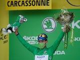 Mark Cavendish celebrates at the Tour de France on July 9, 2021