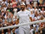 Matteo Berrettini celebrates at Wimbledon on July 9, 2021