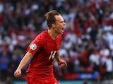 Mikkel Damsgaard celebrates scoring for Denmark against England on July 7, 2021