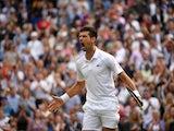 Novak Djokovic celebrates at Wimbledon on July 9, 2021