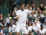 Novak Djokovic in action during the Wimbledon final on July 11, 2021