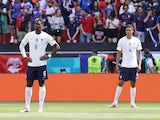 France's Paul Pogba and Raphael Varane before the match on June 19, 2021