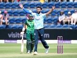 England's Saqib Mahmood celebrates against Pakistan on July 8, 2021