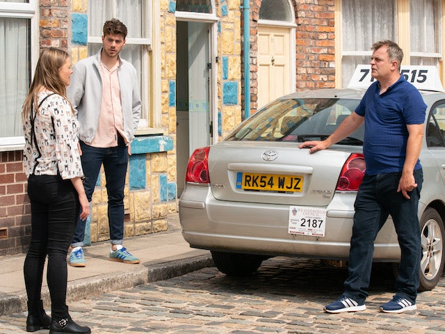 Tracy, Curtis and Steve on the first episode of Coronation Street on July 21, 2021