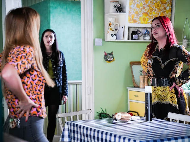 Tiff, Dotty and Whitney on EastEnders on July 30, 2021