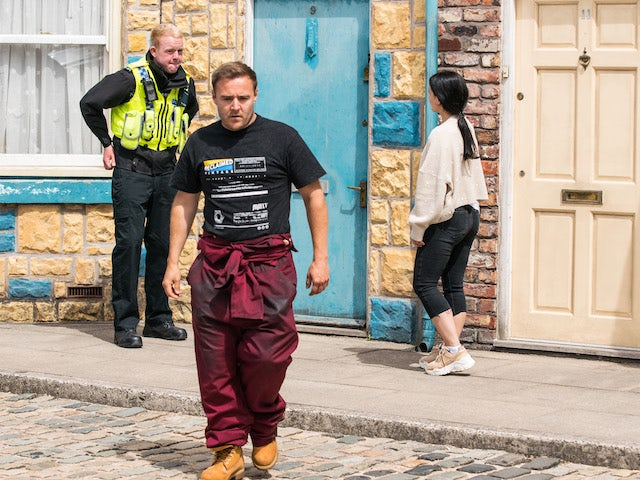 Craig, Tyrone and Alina on the second episode of Coronation Street on August 6, 2021