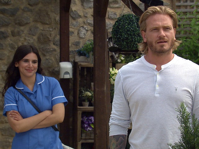 Meena and David on Emmerdale on August 2, 2021