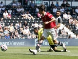 Manchester United's Facundo Pellistri in action against Derby County on July 18, 2021