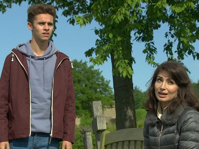 Jacob and Leyla on Emmerdale on July 27, 2021