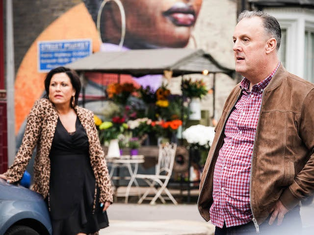 Kat and Harvey on EastEnders on July 29, 2021