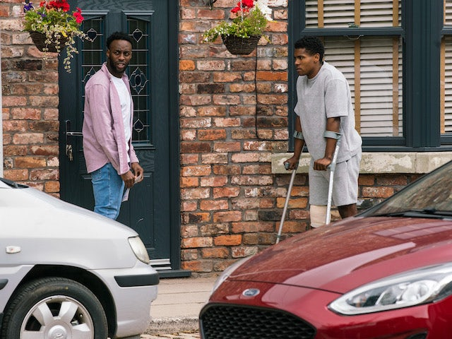 James and Michael on the first episode of Coronation Street on August 2, 2021