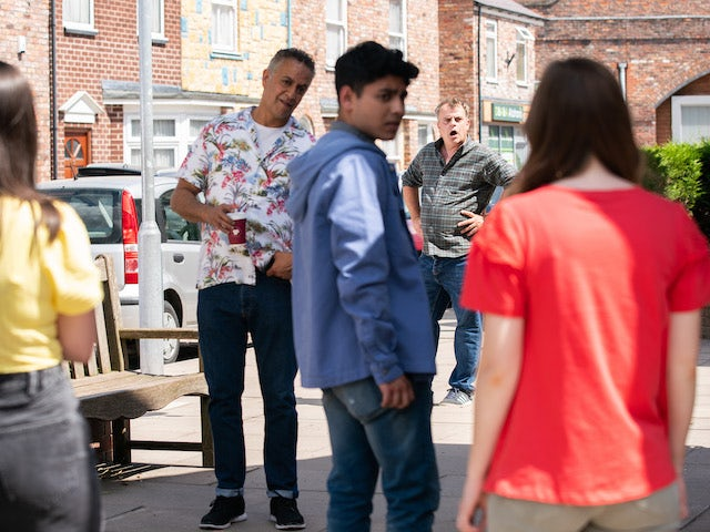 Dev, Steve and Aadi on the second episode of Coronation Street on August 6, 2021