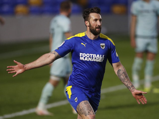 AFC Wimbledon's Ollie Palmer pictured in April 2021