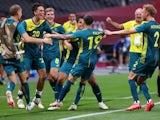 Marco Tilio of Australia celebrates scoring their second goal with teammates on July 22, 2021