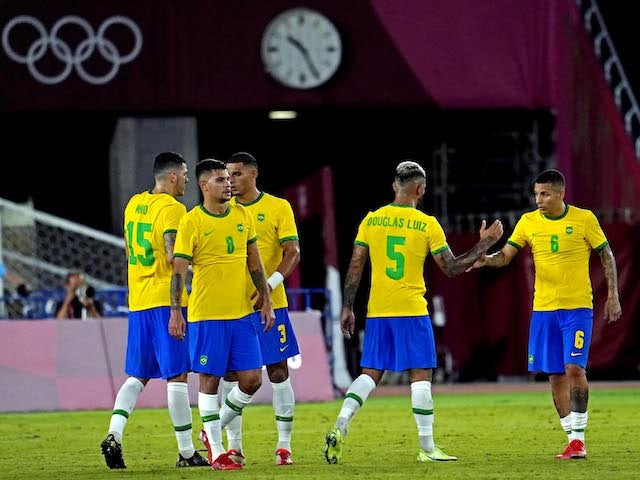 Brazil celebrates after beating Germany in Group D play during the Tokyo 2020 Olympic Summer Games at Nissan Stadium on July 22, 2021