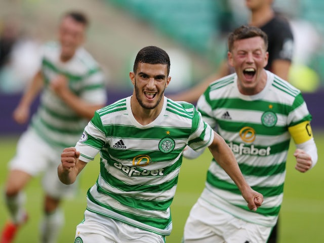 Celtic's Liel Abada celebrates scoring against Midtjylland in the Champions League on July 20, 2021