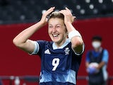 Ellen White of Great Britain celebrates scoring against Chile Women at the Olympics on July 21, 2021