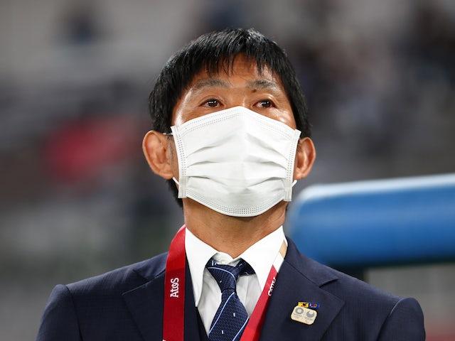 Japan coach Hajime Moriyasu before the match on July 22, 2021
