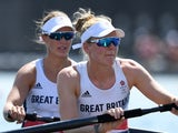 Helen Glover and Polly Swann in action for Team GB on July 24, 2021