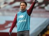 Jack Grealish warms up for Aston Villa on May 13, 2021