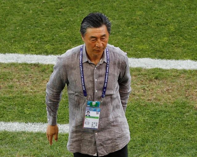 China coach Jia Xiuquan reacts after the match in June 2019