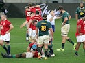 The British and Irish Lions celebrate beating South Africa on July 24, 2021