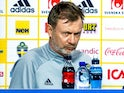 Sweden's head coach Peter Gerhardsson during the press conference in April 2021