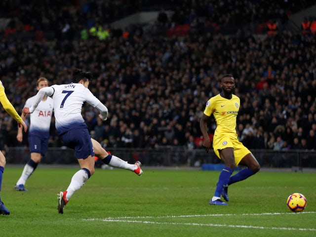 Son Heung-min scores for Tottenham Hotspur against Chelsea in November 2018