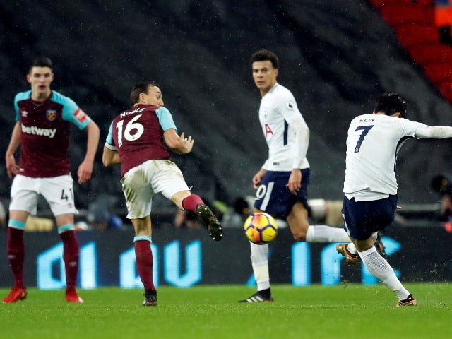 Son Heung-min scores for Tottenham Hotspur against West Ham United in January 2018