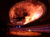 A shot of the Tokyo 2020 Olympics opening ceremony
