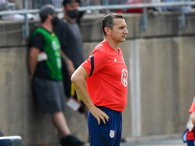 The United States head coach Vlatko Andonovski (hc) coaches against the Mexico during the first half during a USWNT Send-off Series soccer match at Pratt & Whitney Stadium on July 6, 2021