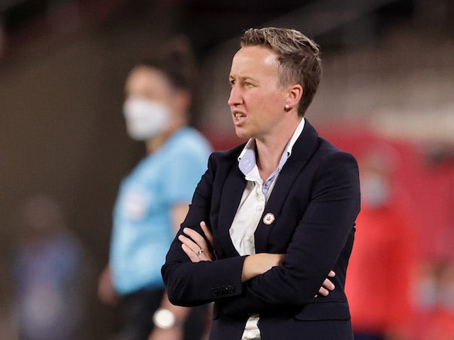 Canada coach Bev Priestman reacts on July 27, 2021