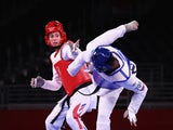 Bianca Walkden of Britain in action against Cansel Deniz of Kazakhstan at the Tokyo 2020 Olympics on July 27, 2021